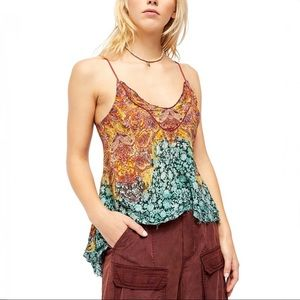 Free People Turquoise Abstract Way You Walk Cami